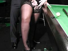 BBW MILF in nylons takes it from behind on the pool table! If you're into woman with a bit of extra weigt don't miss this hot cene of BBW sex.