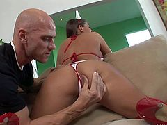 Johnny Sins gets a call from Madelyn Marie and drives instantly to her, just to play with her shaved soft pussy on the couch in the living room in front of the cam
