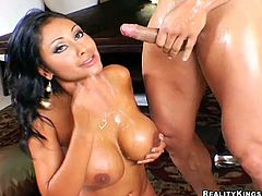 Gorgeous Priya Rai gets fucked after a business meeting. She gets her pussy licked and then fucked hard. In the end the guy cums on her big boobs.