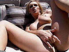 Blonde Tanya Tate with giant tits is ready to pose naked from dusk till dawn