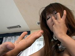 Messy Japanese hoe in stockings bends down to get her ruined cunt fingered hard in doggy pose before she gets boffed in missionary pose in sultry MMF sex video by Jav HD.