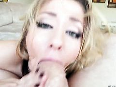 Jonni Darkko explores the depth of warm Sheena Shaws throat with his fuck stick