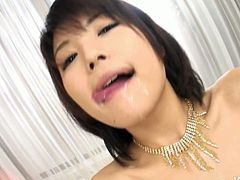 Divine Japanese babe gets her hairy vagina pounded from behind in doggy style before she rides meety cock in reverse cowgirl pose until she welcomes a dump of hot cum in her mouth.