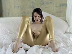 This angel looking face carries a dirty mind. Her lustful eyes tells every thing and look how this long haired horny babe is sucking that dildo after revealing her juicy boobs. She is removing her pants and pushing that lucky dildo in her tight cunt between her juicy thighs and moaning with pleasure.