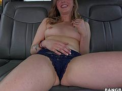 Karla Kush is one naughty fair-haired girl with perky tits that strips down to her panties and parts her legs to flash her pink pussy in the backseat of a car in front of the camera.