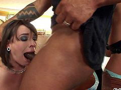 Dana Dearmond and Alysa enjoy in taking on a hard black bazooka on the chair in their kitchen and make a steaming hot interracial threesome sex session with black dude