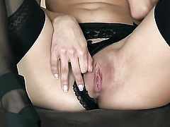 Valerie Rios with small breasts and smooth snatch is ready to play with her snatch all day long