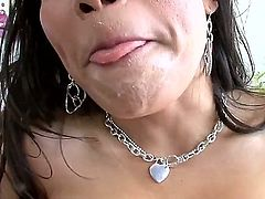 Attractive asian milf Jessica Bangkok with long whorish nails and jaw dropping juicy knockers gets her ass licked by randy dude and gives amazing titjob while he films in point of view.