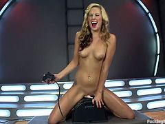 She's blonde, hot and loves to ride her rodeos sex machine while getting deeply fucked by a dildo attached at her sex machine. In case you haven't heard about her this red lips cutie name is Dallas and she's a complete whore that likes it the way no man can give it to her. Enjoy her moaning and her hot body