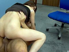 Slender Japanese chic bends down to get a portion of hard anal fuck from behind before she rides massive dick in reverse cowgirl style with her gaped asshole in sizzling hot sex video by Jav HD.