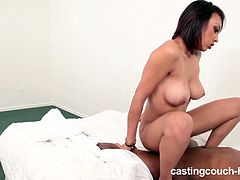 Check out this sexy big titted ebony chick in this hardcore casting. She deepthroats his black cock before taking it in her juicy pussy!