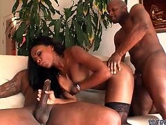 Persia is quite a talented cock sucker! She blows two hard cocks at once moving from one dick to the next with her slutty mouth. After a while she gets brutally fucked in doggy pose.