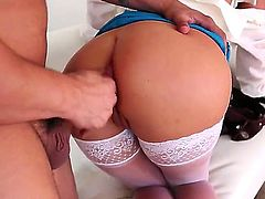 Seductive smoking blonde milf Phoenix Marie with long whorish nails and huge juicy gazongas in stockings and blue skirt gives head to Anthony Rosano and gets banged hard from behind.