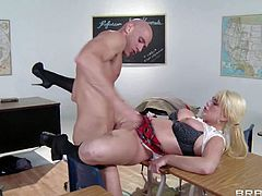 Stacked blonde bombshell Alexis Ford is in school uniform again. Pigtailed playful babe with nice boobs gets her pink pussy drilled by rock hard cock in the class room with her plaid mini skirt on.