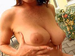 Michelle is a horny lady with big natural breasts and nice ass. She gets dicked under the open sky before she swallows sperm with appetite. Watch cum slut Michelle get double teamed.