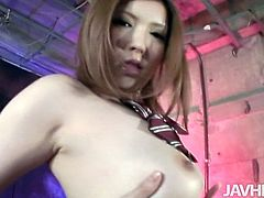 Mind taking Japanese babe with oversized milky tits rubs her steamy body with hands before she gets to her soaking vagina to intensive finger fuck.