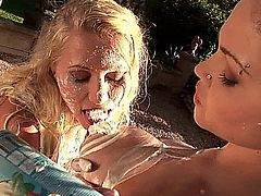 Hot busty lesbians dark-haired Shione Cooper & blonde Nikita Valentin got together to make some food outdoors, playing with one another! They enjoyed eating up one another that eating food, so they got involved in a massive titty-treating & pussy-toying