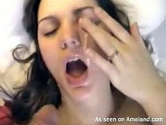 Kinky brunette is fond of sucking a dick. This bitch waits for a chance to get facial cumshot. Horn-mad slim and pallid chick opens her mouth to fill mouth full with gooey sperm.