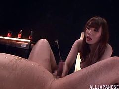 Honami Uehara, a girl that loves some dirty games! She gets naked and starts sucking and licking this dude's cock and asshole. Pretty perverted!