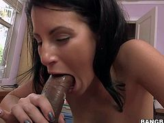 Violet is a dick hungry brunette that gets her mouth filled with massive chocolate cock. She takes huge dark dick as deep as possible. Watch Violet give interracial blowjob to well hung black dude.
