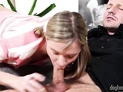 George Uhl stretches adorably sexy Angel Piafs mouth with his rock solid fuck stick to the limit