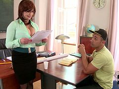 She is an extremely beautiful teacher and she is damn proud of her boobs. She tempts her student with her big juicy melons and makes him lick them. Then she returns the favor with a titjob.