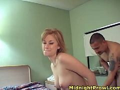 Versatile short haired blondie Alex Devine gets busy with sucking two dicks (MMF)