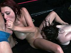 As these two girls loves some rough action what can be the best place of having threesome? Yes, the wrestling match. As soon as it begins the clothes starts to come out one by one. When they are all completely naked and then starts all the real dirty work. It is a rough threesome at its best.