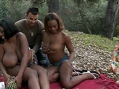 Tori Taylor and her delicious ebony girlfriend are out in the woods and sucking on a long, thick penis