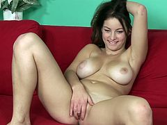 Looking for a naughty babe that'll get your dick as hard as a rock? Have a look at this solo scene where a gorgeous brunette plays with her pink pussy as you can't take your eyes off her big tits