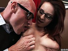 Johnny Sins pops out his meat stick to fuck Ashley Graham
