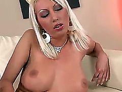Blondie with big natural tits and very long legs Pamela Blond is before you right now! Pamela takes off clothes and lingerie before starting to push fingers into pussy.
