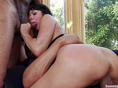 Belgian mom Eva loves big hard cocks in her ass and mouth. She stays on top of a guy and rides his dick with her big hot booty while another dude penetrates her anus. Look at her filled up with big black cock and giving her best for some cum. Are we gonna see this sexy and wild mom filled with semen too?