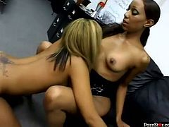 Ebony nymphos Alana Lee and America are busy with licking each other's cunts