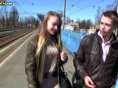Milk skinned brunette chick gets hooked up at the train