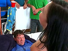 Ashli Orion, Diamond Kitty and Kelly Divine are spending cool time in group sex with ordinary dudes from college. Guys are very happy to have great screw with pornstars.
