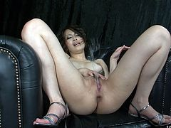 Horn made Japanese milf stands in doggy pose getting her tight shaved cunt fingered hard before she gets aroused with a vibrator in peppering solo sex video by Jav HD.