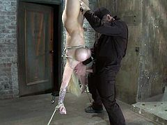 Throat Fucking Candy Manson as she Hangs Upside Down in Bondage Session