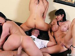 Eva Karera  Vanilla Deville  Kendra Lust gets her mouth destroyed by hard rod of Keiran Lee