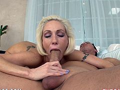 Watch this horny blonde hottie doing her thing in this hot clip where she sucks this guy's big cock dry as you watch.