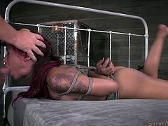 redhead tied up and fucked by executors