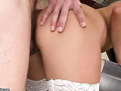 Teen Bettina Dicapri sucks like a first rate whore in steamy oral action with horny guy