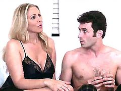 Christian makes his throbbing love wand disappear in irresistibly hot Nina Hartleys snatch