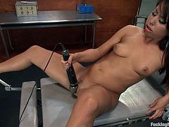 Cute brown-haired girl Alexa Jaymes is playing dirty games alone. She gets her snatch drilled by a fucking machine and gets multiple orgasms.