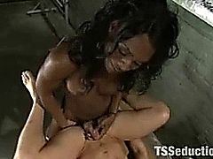 Ebony shemale domme Chanel Couture enjoys fucking throats and assholes deep and hard to make their slave boys cum!