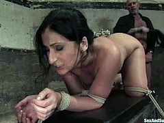 Rich man picks up this brunette whore and tortures her