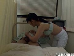 Slutty Japanese nurse gets fucked rough by a patient