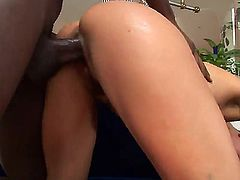 Slutty babe Lexi squirts as she gets a huge hard black pole deep inside her juicy cunt