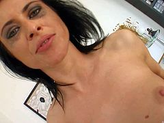 Black haired cum swallowing bitch with natural tits screams loud while two experienced randy stud drill her holes simultaneously in amaizng positions and makes them cum in her mouth