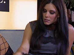 Brunette babe in fishnet stockings, India Summer, is giving her coworker a day to remember as she gives him head and he licks her pussy and then lets him bang her pussy hard. She works up a sweat as he fucks her hard.